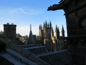 COLLEGE ROOF TOP AND GARGOYLES